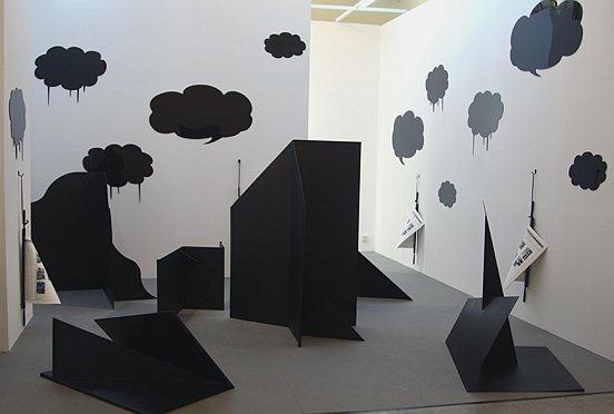 Liu Ding: Gravestone for Rumour Mongers, 2008, Installation, steel, acrylic, paper