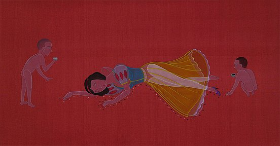 Wilson Shieh The Princess is Dead; chinese ink and gouache on dyed silk