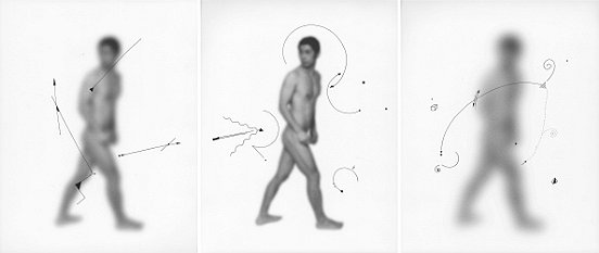 Shen Wei ©, Untiteld (Three), 2013, Ink on Archival Inkjetprint, Triptych, each panel 11 x 14 inches