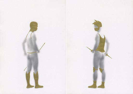 Shen Wei ©, Untiteld (Armor), 2013, Acrylic on Archival Inkjetprint, Diptych, each panel 11,7 x 16,5 inches