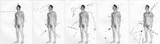 Shen Wei ©, Untiteld (Five), 2013, Ink on Archival Inkjetprint, Quintych, each pannel 9 x 12inches