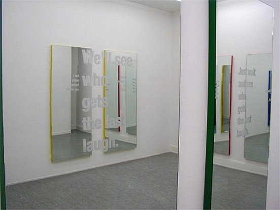 Mirror-Diptychon, 2004, Mirror , text engraving , Aluminum, presentation size aprox 185  x 185  cm (two mirrors)