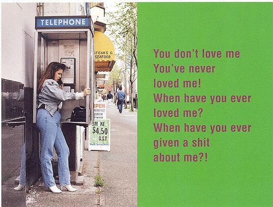 You don't love me, 1994, laminated c-print on sintra, lacquer, enamel & aluminium, 182 x 243 cm
